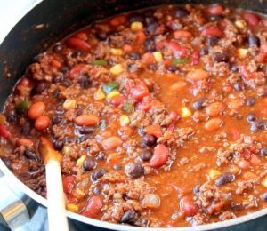 Black bean chili and roasted orange peppers