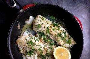 Pan-roasted cod with fresh herbs and lemon
