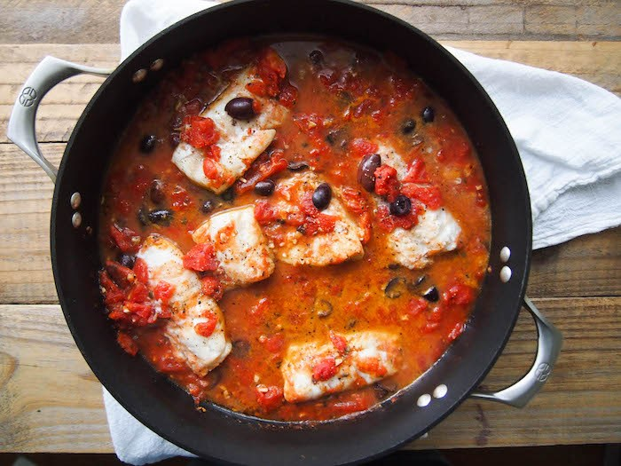 Greek braised cod with tomatoes and kalamata olives