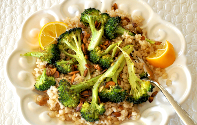 High Protein Roasted Broccoli & Pumpkin Seeds Over Brown Rice