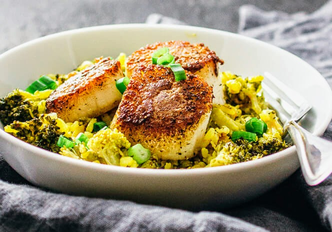 Scallop risotto with saffron